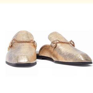 NIB Stella McCartney Gold Mules Slides Shoes 35